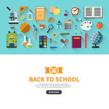 Back to school flat design vector banner Royalty Free Stock Image