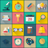 Back to school flat icon set full Royalty Free Stock Images