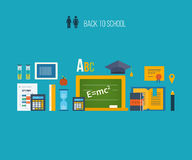 Back to school flat icons design Royalty Free Stock Photos