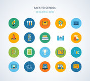 Back to school flat icons design Royalty Free Stock Photography