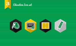 Back to school flat icons set collection Royalty Free Stock Images
