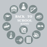 Back to school flat icons set, Grey circle Royalty Free Stock Photos