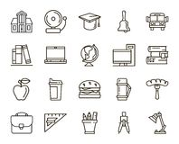 Back to school flat icons. Back to school. set of linear icons on a white background Royalty Free Stock Images