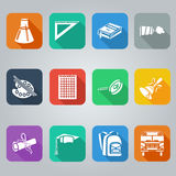 Back to school flat icons set, square with shade Stock Photos