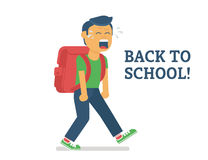 Back to school. Flat illustration of crying boy going to school Royalty Free Stock Photos