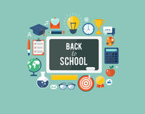 Back to school flat illustration Royalty Free Stock Image