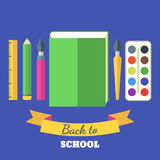 Back to school flat illustration. Green big book, tools and art Stock Image