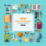 Back to school flat modern vector background Stock Images