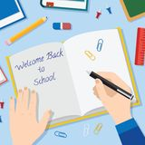 Back to School Flat Style Vector Background With Stock Images