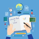 Back to School Flat Style Vector Icon Set on Blue Stock Photos