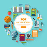 Back to school flat vector background Stock Images