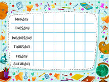 Back to School flat vector timetable schedule Stock Photo