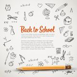 Back to school - flyer or banner. Back to school - set of school doodle illustrations with a pencil - flyer / banner royalty free illustration
