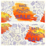 Back to school flyer template with different school objects, ban Royalty Free Stock Photos