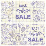 Back to school flyer template with different school objects Royalty Free Stock Images