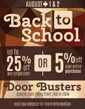 Back to school flyer template. Fun back to school flyer advertisement design template with coupons vector illustration