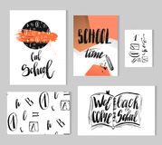 Back to school flyer template. Hand drawn vector colorful modern back to school collection set with lettering black ink school phases,3d posters,seamless Stock Photo