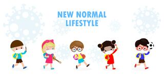 Free Back To School For New Normal Lifestyle Concept. Happy Kids Wearing Face Mask And Social Distancing Protect Coronavirus Covid 19 Stock Photos - 186800683
