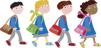 Back to school, four kids Royalty Free Stock Photos