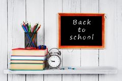 Back to school. Frame. Books and school tools. Stock Images