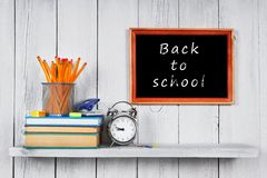 Back to school. Frame. Books and school tools. Royalty Free Stock Photos
