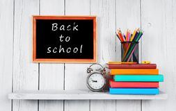 Back to school. Frame. Books and school tools. Royalty Free Stock Photo