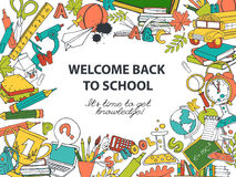 Back to school frame border pattern of kids doodles with bus, bo Royalty Free Stock Images