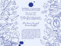 Back to school frame border pattern of kids doodles with bus, bo Royalty Free Stock Photo