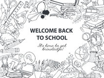 Back to school frame border pattern of kids doodles with bus, bo Royalty Free Stock Image