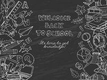 Back to school frame border pattern of kids doodles with bus, bo Stock Images