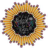 Back to school. Frame with colorful pencil and Stock Photo