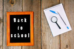 Back to school. Frame and school tools. stock photos
