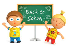 Back to School. Funny girl and boy standing at blackboard. Back to School.  on white background. 3d render Royalty Free Stock Images