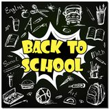 Back to school - funny pop art lettering with signs and icons. On blackboard,vector illustration Royalty Free Stock Photography