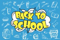 Back to school - funny pop art lettering with signs and icons. On blue background,vector illustration Stock Photography