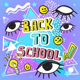 Back to school funny vector illustration. Doodle style colorful artwork with vintage symbols. 80s and 90s. East editable template. For your design. Print Vector Illustration