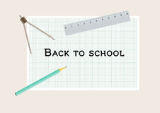 Back to school with geometry tools. Pencil, compasses and ruler Stock Photography
