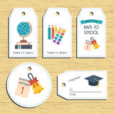 Back to school gift tags. Ready to use. Back to school greeting. Flat design. Vector Stock Photo