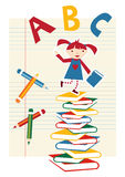 Back to school girl background Stock Photography