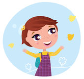 Back to school: Girl is going to the school Royalty Free Stock Photo