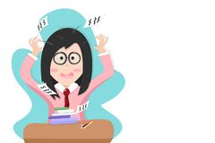 Back to school, girl nervous with examination test, people student cartoon character vector illustration royalty free illustration