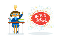 Back To School Girl Pupil Sitting At Desk Studing Royalty Free Stock Images