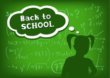 Back to school girl speech and thought Stock Photos