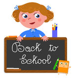 Back to school girl vector Stock Photography
