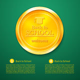 Back to school a gold medal, vector illustration. Back to school a gold medal, congratulations with the beginning of the school year, vector illustration Royalty Free Stock Photography