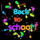 Back to school graffiti colorful poster  with ink drops Royalty Free Stock Photos