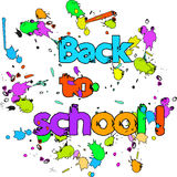 Back to school graffiti colorful poster  with ink drops Stock Images
