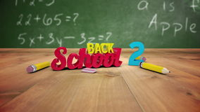 Back to school graphic falling in classroom. Digital animation of Back to school graphic falling in classroom stock video