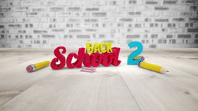 Back to school graphic falling with pencils. Digital animation of Back to school graphic falling with pencils stock video footage