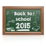 Back to school 2015 green blackboard Stock Photography